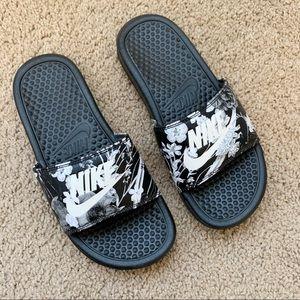 Floral Nike Slides